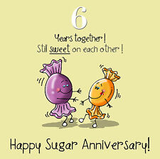 Fax Potato 6th Anniversary Greetings Card - Happy Sugar Anniversary