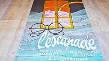 L'ESCAPADE  ! jl trintignant affiche cinema bd dessin visuel vintage 1974