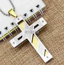 New Men's Jewelry Gift Gold Stainless Steel Cross Pendant Necklace Chain