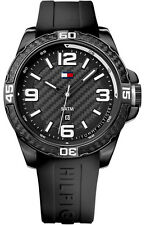 New Tommy Hilfiger Black Rubber Band Date Men Dress Watch 45mm 1791090 $135
