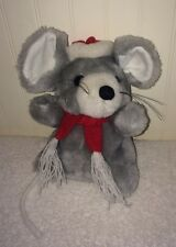 "Vintage Grey Christmas Mouse Plush String Tail Red Santa Hat Scarf 7"" RN84499"