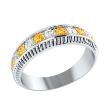 Women Round Cut Citrine & White Sapphire 925 Silver Jewelry Wedding Ring Size 8