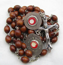 """† VINTAGE DOUBLE ST ANTHONY & FRANCIS ASSISI """"EX INDUMENTIS"""" RELIC WOOD ROSARY †"""