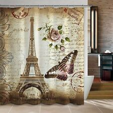 Shower Curtain Retro Eiffel Tower+Butterfly Bathroom Waterproof Fabric 180cm Hot