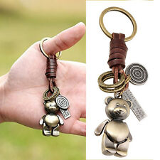 Cute Keyrings Button Alloy Lovely Bear Retro Women Leather Key Chain Small Gift