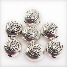 50pcs 144377 New  Round Lotus Antique Silvery Alloy Spacer Beads charms