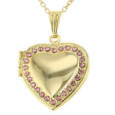 Pink Crystal Heart Photo Locket Pendant Necklace Sweetheart Remembrance 19""