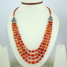 NATURAL FINE CARNELIAN GEMSTONE BEADED NECKLACE 45 GRAM