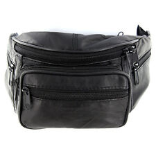 Genuine Leather Fanny Pack Waist Bag Phone 4 Lrg Comp Black