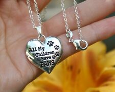 .925 Sterling Silver NECKLACE All My Children Have PAWS Pendant Dog Cat Pet Love