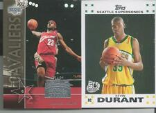 2 ROOKIE CARD LOT 2007-08 TOPPS KEVIN DURANT & 2003-04 UD LEBRON JAMES