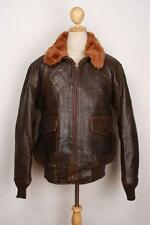 Mens Cockpit G-1 Brown US NAVY Flight Leather Jacket Size Large