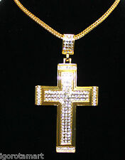 18k Gold finish Man Men's Iced Big Cross Necklace Long Chain Link