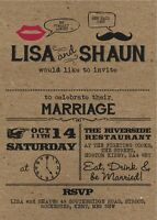 50 Personalised Retro Moustache & Lips Wedding Invitations!The Invite Shack