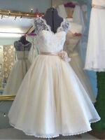 Neu Elfenbein Kurze Brautjungferkleid Sptize Partykleid Brautkleid Abendkleider