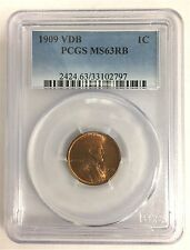 1909 Vdb Lincoln Wheat Cent Slabbed in a Pcgs Ms63Rb Holder