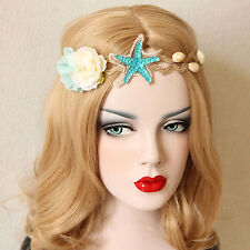 Mermaid Headband Starfish Flowers Sea Shells Elastic Fancy Dress Party Hair Band