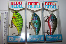 "REBEL FISHING LURES LOT OF 3, ""BLUEGILL"". NOT RAPALA, HALCO  Trout, Bass, Bream."