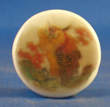 "1"" PORCELAIN CHINA BUTTON --   SATSUMA OWL"