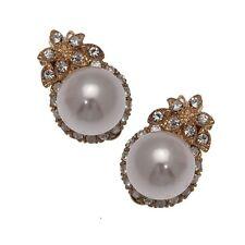 Lyonella Oro Tono Crema Perlas de Imitación de Cristal Pendientes de Clip en