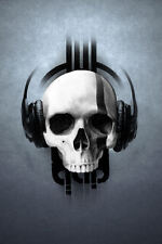 Black Framed Print - Gothic Skull Wearing Headphones (Horror Art Picture Poster)