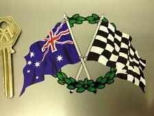 Crossed Australian Flag Chequered & GARLAND sticker OZ