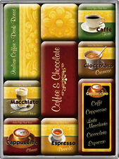 Café ET CHOCOLAT Collection magnétique Lot de magnets 9 parties dans