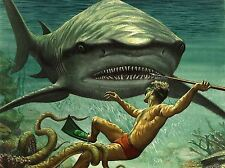 PRINT PAINTING SHARK ATTACK OCTOPUS DIVER SPEAR ADVENTURE UNDERWATER NOFL0895
