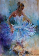 """NEW SUPERB ORIGINAL SERA KNIGHT S.W.A """"Curtsy"""" Ballet Dance Girl PAINTING"""