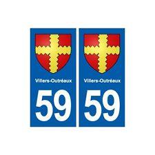 59 Villers-Outréaux blason autocollant plaque stickers ville arrondis