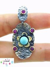 925 STERLING SILVER TURKISH HANDMADE JEWELRY TURQUOISE AUTHENTIC PENDANT P1205