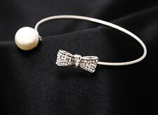 Women's Fashion 925 SILVER Plated Elegant Crystal Bow & Pearl Bracelet Bangle