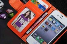 I Phone 5,5S Leather Wallet/Photo/card Flip Case/Cover �� ORANGE COLOR .