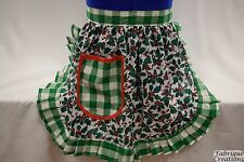 RETRO VINTAGE 50s STYLE HALF APRON / PINNY - CHRISTMAS HOLLY with GREEN TRIM