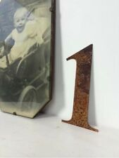 1 Rusty Rusted Steel Metal Number Industrial Sign Garden Decoration Ornament