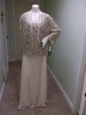 NWT Karen Miller Black Tan Mother Bride Formal Cruise Plus Dress & Jacket 24W 24