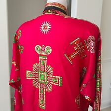 vintage GIANNI VERSACE 1992 red silk shirt THE CROSSES / LE CROCI print size 48