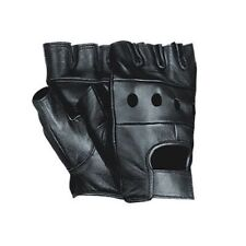 BRAND NEW SOFT MENS FINGERLESS LEATHER GLOVES WEIGHT LIFTING CYCLING WHEELCHAIR