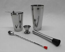 6 Piece BOSTON SHAKER SET Strainer, Muddler, Spoon, Jigger, WEIGHTED Tin Bar Kit