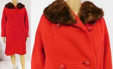 Vintage 50s 60s Coat Jacket Mink Collar Rhinestone Double Breasted Red