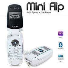 NEW Unlocked BMW Mini Flip Compact Car Key Fob GSM Bluetooth White Cell Phone
