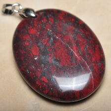 "Extremely Red Natural Bloodstone 925 Sterling Silver Clasp 2"" Pendant #P10756"