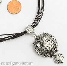 Chico's Signed Necklace Silver Tone Articulated Owl Dome Crystal Accent Pendant