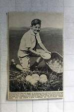 1921 Young American Boy Needs Big Basket To Collect Ostrich Eggs