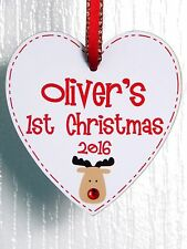 Personalised Baby First Christmas Reindeer Jewel Heart 1st Xmas Tree Decoration