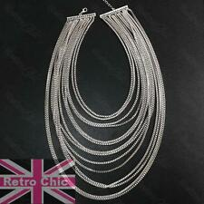 SLINKY DRAPE BIG NECKLACE statement choker LAYERED LIQUID COLLAR silver FASHION