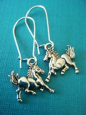 "FREE GIFT ** ANTIQUED SILVER DANGLE EARRING ""Small Mustang Horse"""