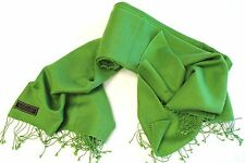 H11  NWT Gorgeous Green Color Pashmina/Silk  Shawl/Wrap Handmade In Nepal