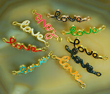 10pcs Curved Side Ways Colorful Metal Skinny Love Bracelet Connector Charm Beads