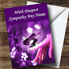 Purple Butterfly Personalised Sympathy / Sorry For Your Loss Greetings Card